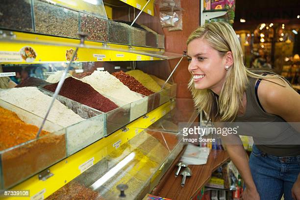 Young woman at spice bazaar