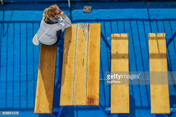 Young woman at the Nils Dacke TTline ferry is seen on 30 July 2017 in Swinoujscie Poland