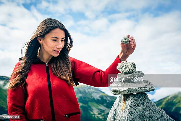 Young Woman at the Top of the Mountain