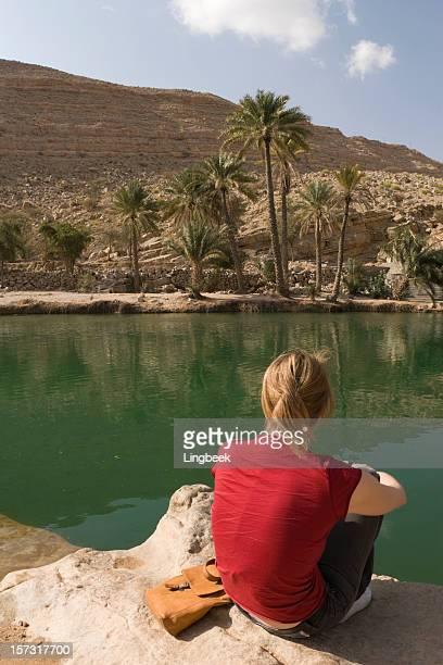 Young woman at Wadi Bani Khalid
