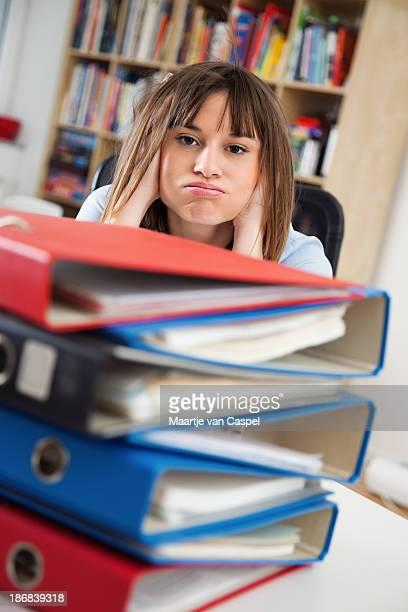 Young Woman at Work - Stressed