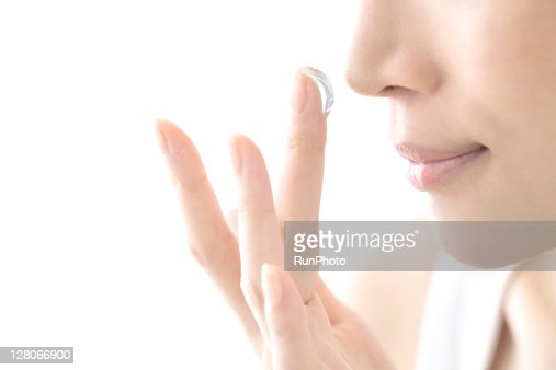 young woman beauty,woman smell the aroma of cream : Stock Photo