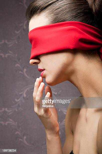 young woman blindfold