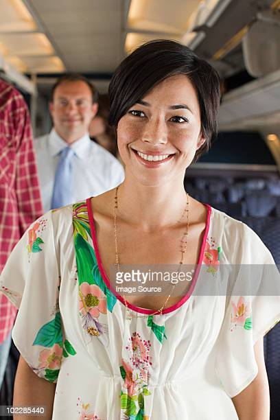 Young woman boarding a plane