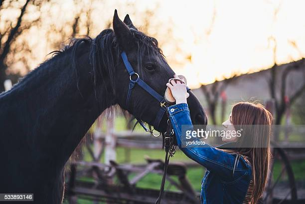 Young woman brushing his horse