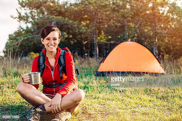 Young woman camper