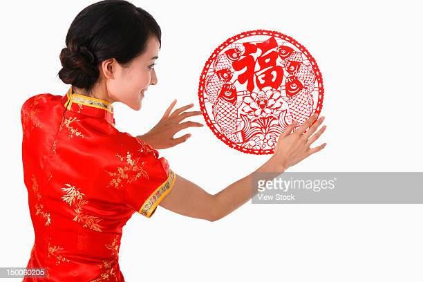 Young woman celebrating Chinese New Year