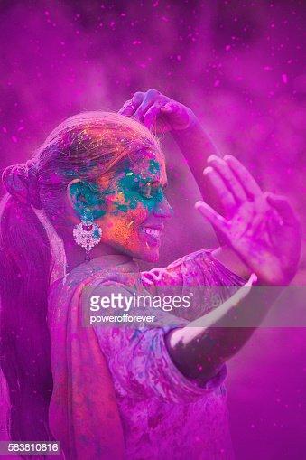 Young Woman Celebrating Holi Festival