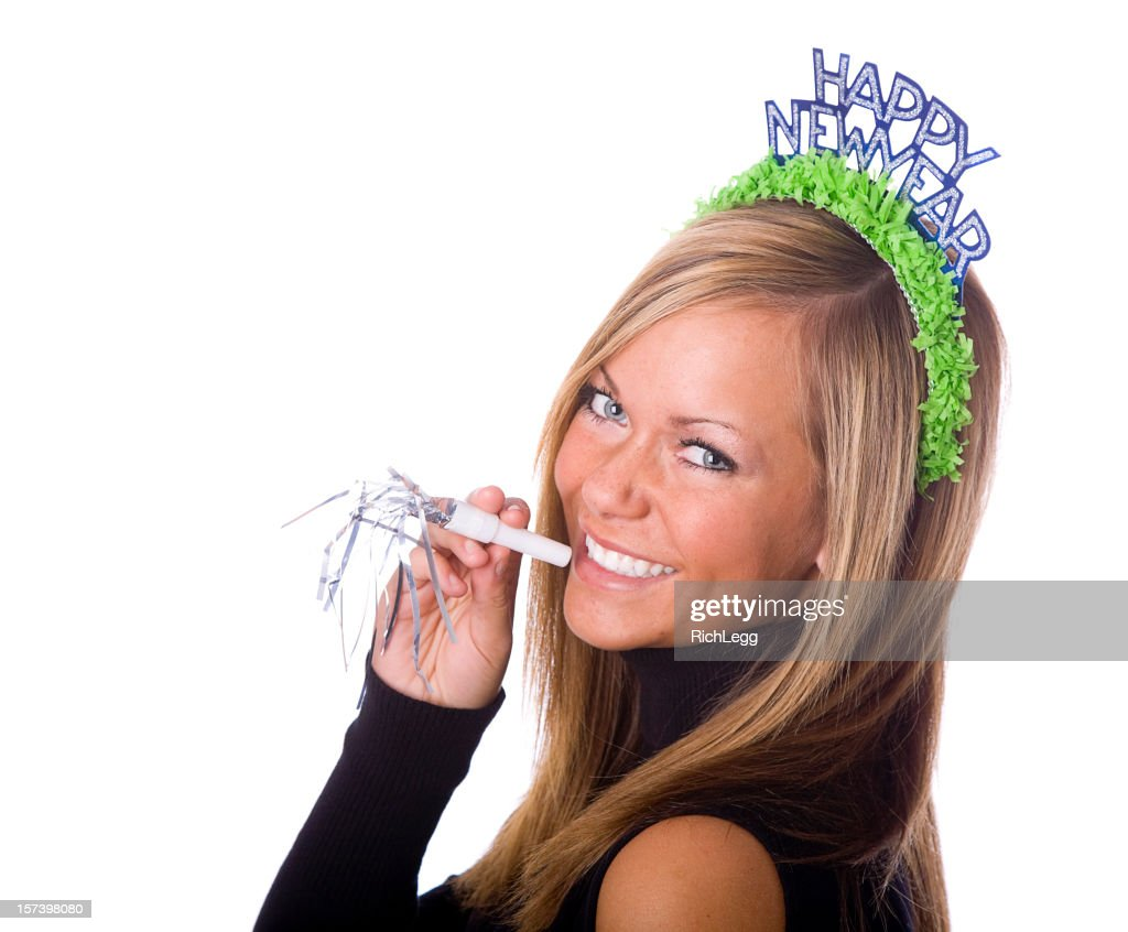 Young Woman Celebrating New Year's Eve : Stock Photo