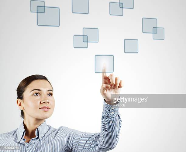 Young Woman Clicking Digital Squares