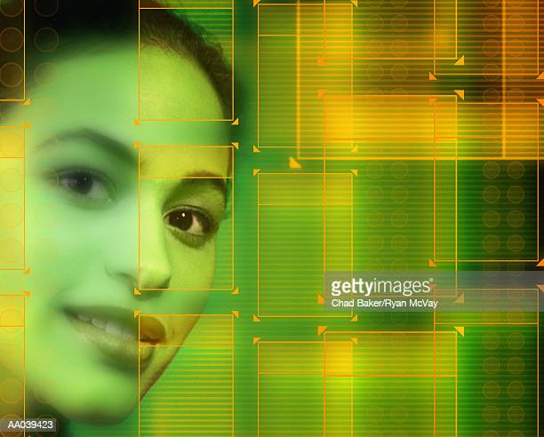 Young woman, close-up, portrait with rectangles (Digital Composite)