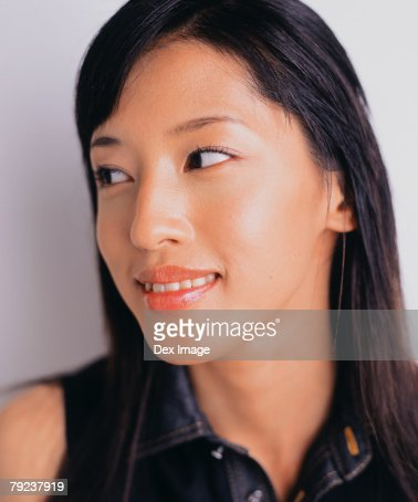Young woman, close-up, profile : Stock Photo
