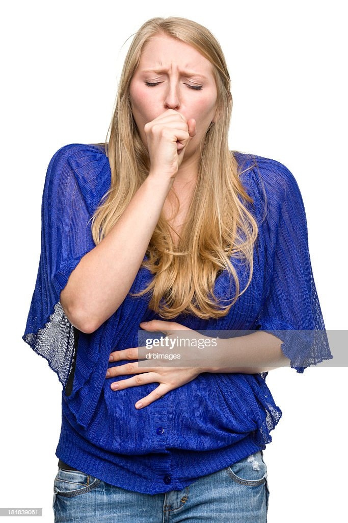 Young woman coughing holding stomach
