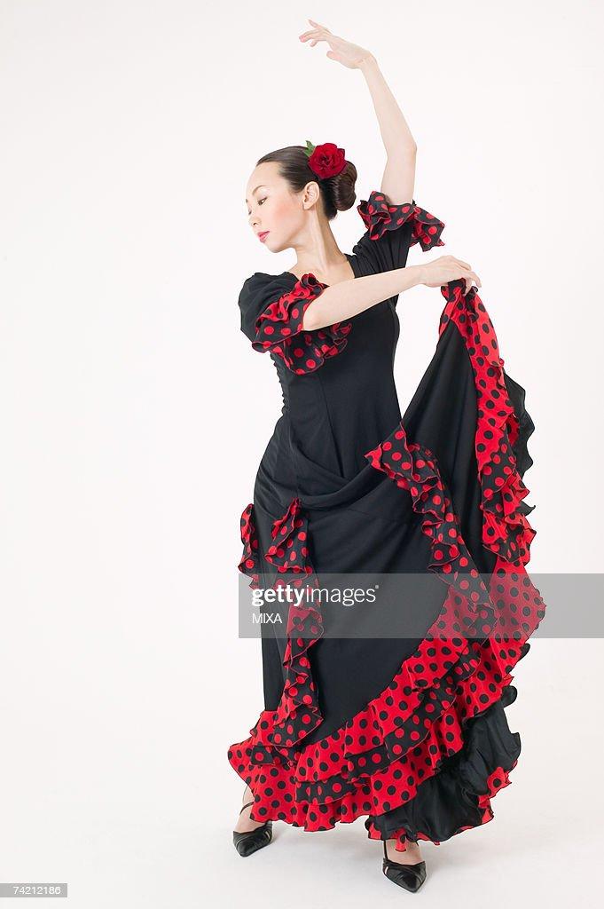 Young woman dancing the flamenco