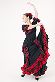 Young woman dancing the flamenco
