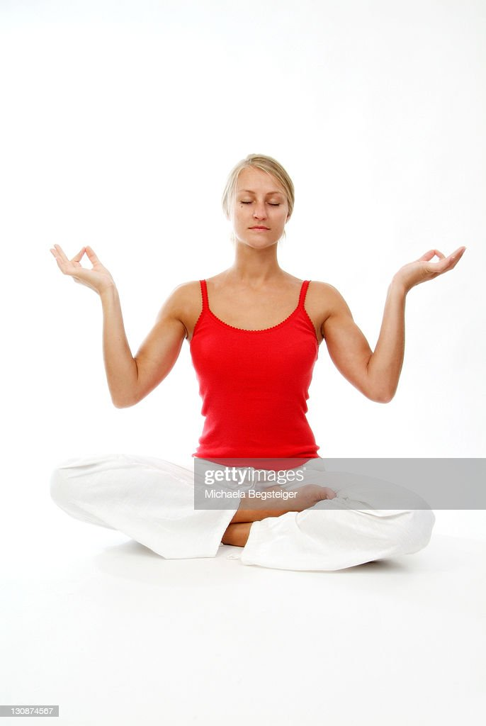 young woman does yoga : Stock Photo