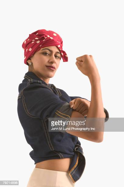 Young woman dressed as ?Rosie the Riveter?