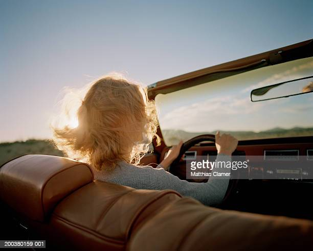 Young woman driving convertible, rear view