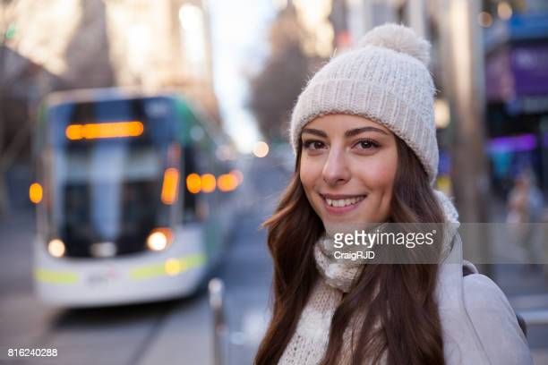 Young Woman Enjoying Melbourne Winter