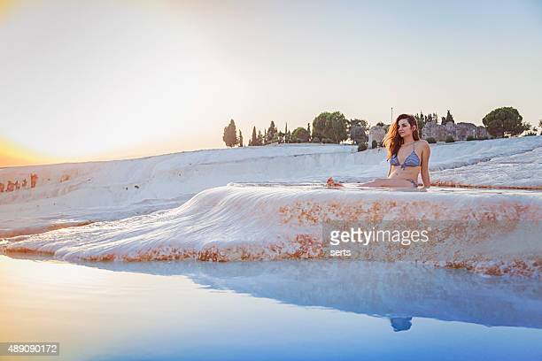 Young woman enjoying Pamukkale, Turkey.