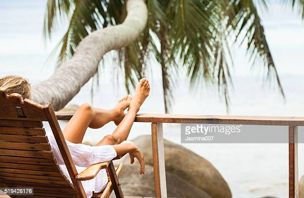 Young woman enjoys in morning
