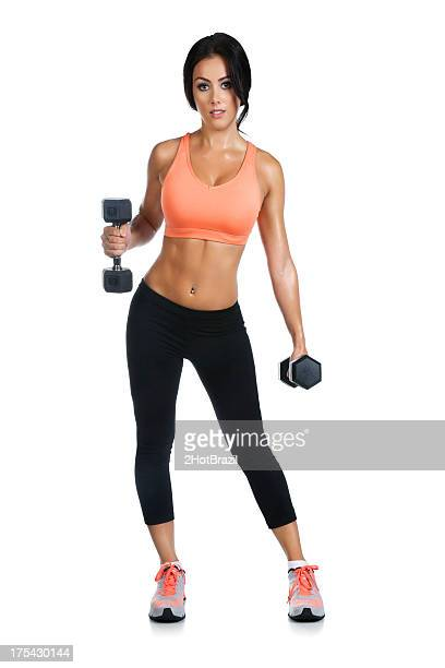 Young Woman Exercising with Hand Weights - Isolated