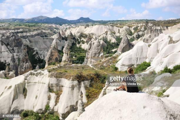 Young woman explores Cappadocia landscape
