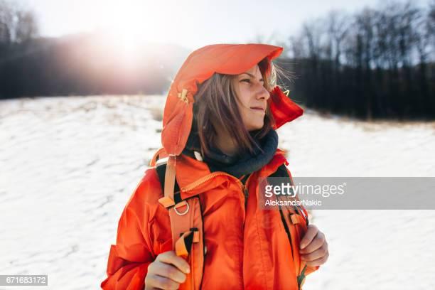 Young woman exploring mountain
