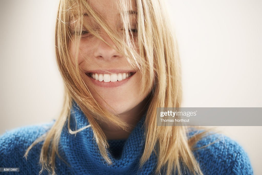 Young woman, eyes closed portrait : Stock Photo