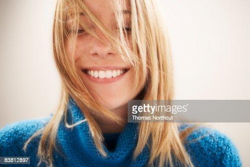 Young woman, eyes closed portrait : Foto de stock