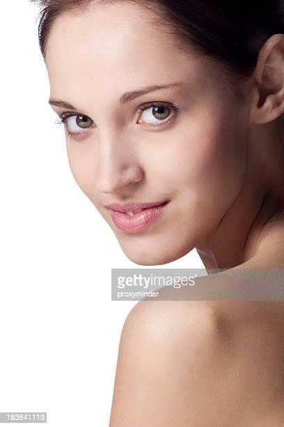 若い女性の顔にホワイト