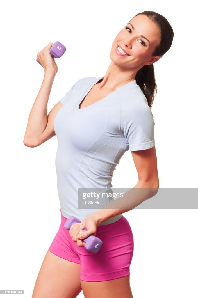 Young Woman Fitness Trainer with Dumbbells on White : Stock Photo