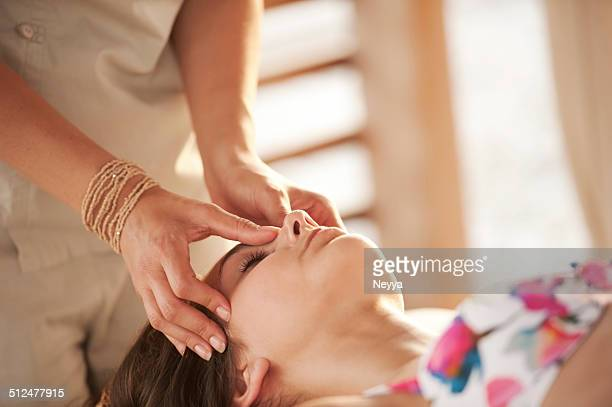 Young Woman Getting Massage on the Outdoors Spa Resor