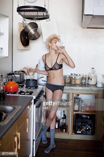 Young woman getting ready in the morning