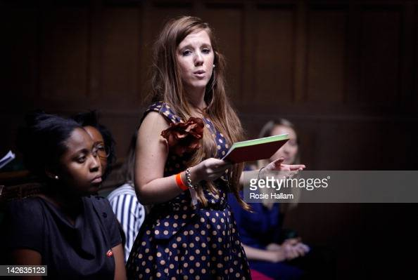 A young woman gives a speech as members of the British Youth Council and Youth Parliament hold a live debate on the film set of 'The Iron Lady' at...