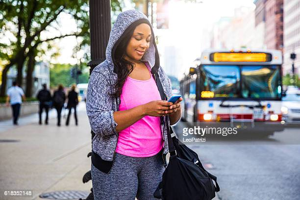 Young woman going to the gym in Chicago - USA