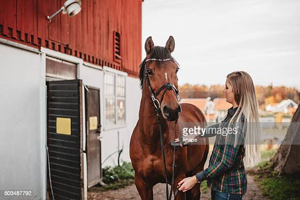 Young woman grooming her horse at the stable