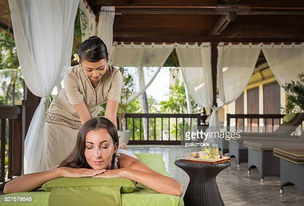 Young woman having a massage treatment