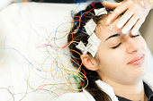 A stock photo of a young woman having an eeg test