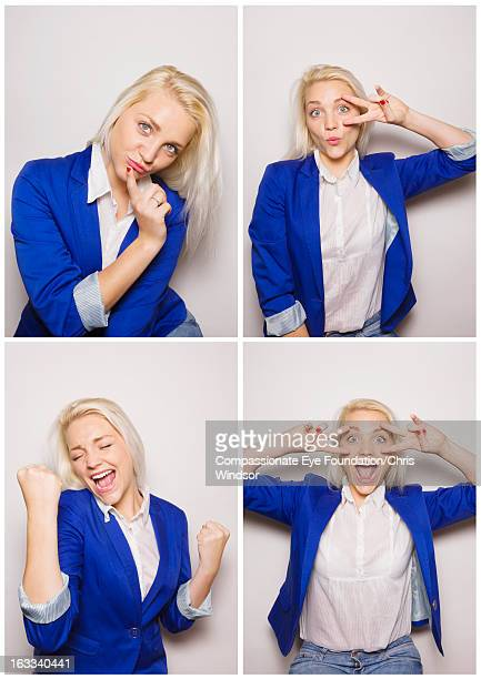 Young woman having fun in photo booth