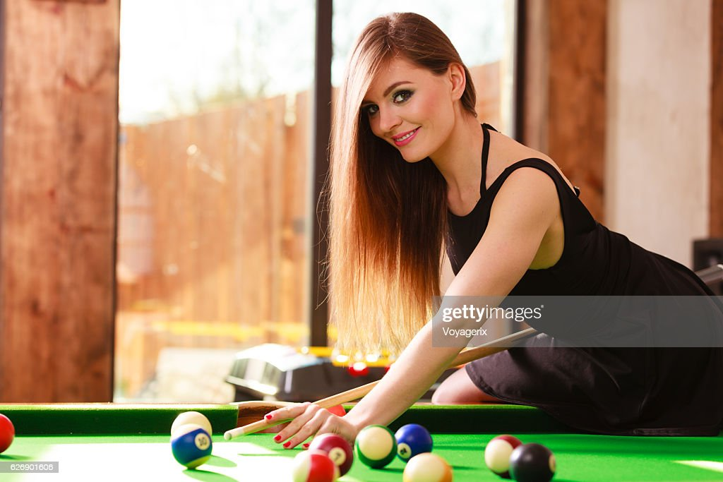 three ladies are playing billiards and having unforgettable threesome  23985