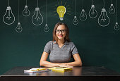 Young woman sitting in front of blackboard with light bulbs drawn above her head