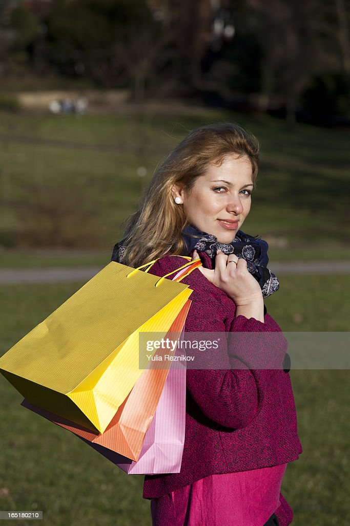 Elegant Woman Holding Bags Stock Image. Image Of Brown Freshness - 11437215