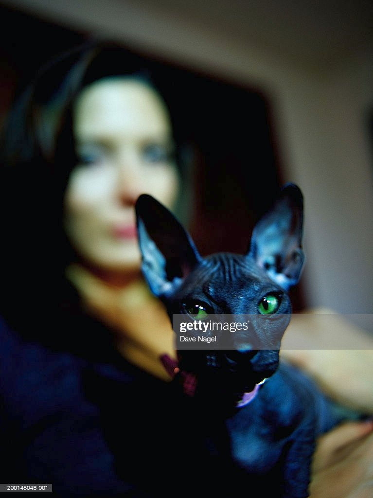 Young woman holding cat with green eyes (focus on cat) : Stock Photo