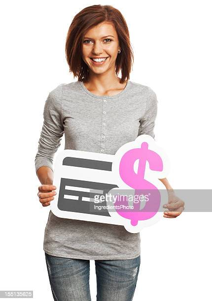 Young woman holding credit card payment sign isolated on white.