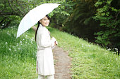 Young Woman Holding Umbrella