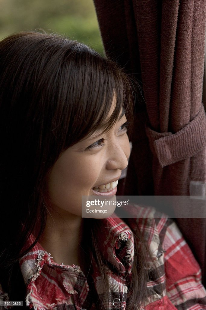 Young woman in a bus : Stock Photo