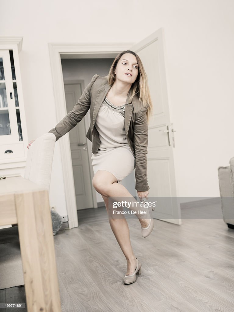 Young woman in a hurry