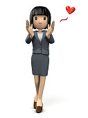 A young woman in a suit that encourages you.  3D illustration