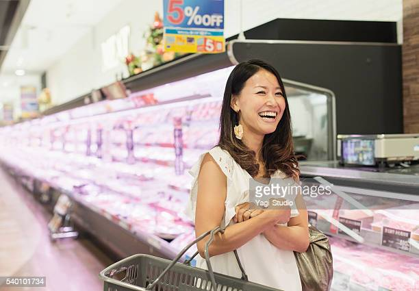 Young woman in a supermarket
